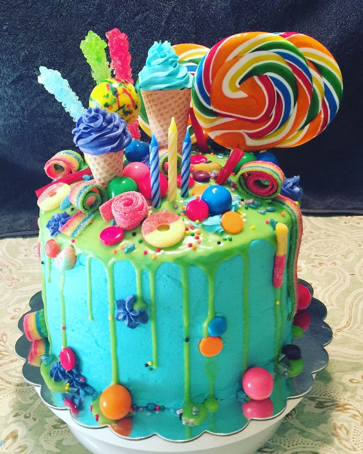 Candyland Cake Lollipops Gumdrops And Everything In