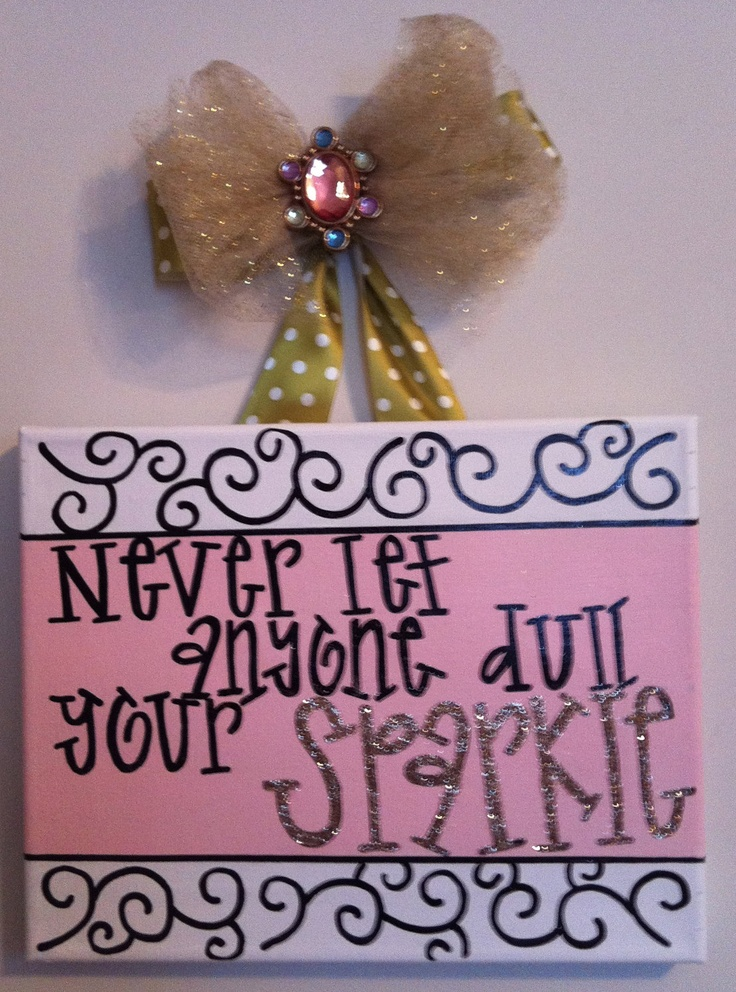 painted canvas with sparkle quote