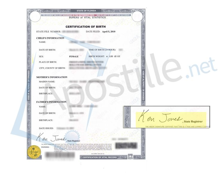 Florida Certificate of Live Birth signed by Ken Jones State of - judicial council form complaint
