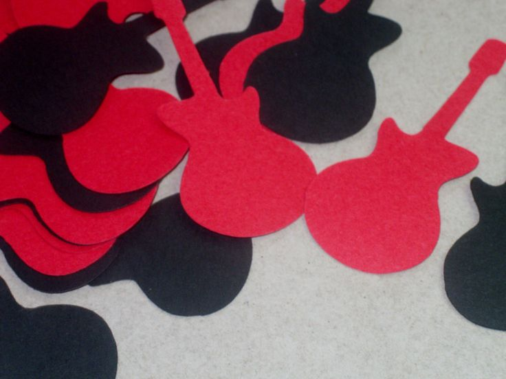 Black and Red Guitar Table Confetti / Guitar Party Table Decor / Guitar Decor / Guitar Decoration / 100 Pieces (3.75 USD) by CallahansCrafts