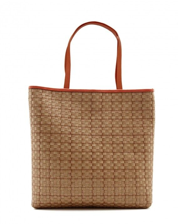 Timea in Salamander Orange - Classic tote is crafted from durable synthetic rattan and trimmed in Italian grade premium leather for a sleek, sophisticated look.     *Chameo Couture fashion bags are artisan handmade and handwoven, therefore the pictures are close reference but not exact representation, as each item is unique and special, with its distinct patterns and natural characteristics/textures of a handmade product.