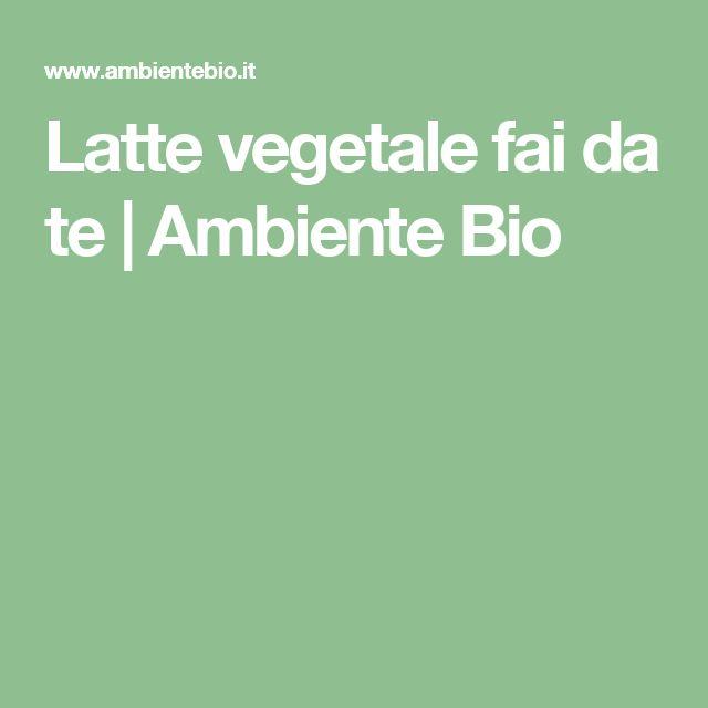 Latte vegetale fai da te | Ambiente Bio
