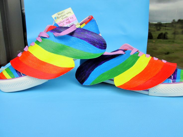 Rainbow shoes with detachable wings. From Acid Age. Quirky fashion at its best.
