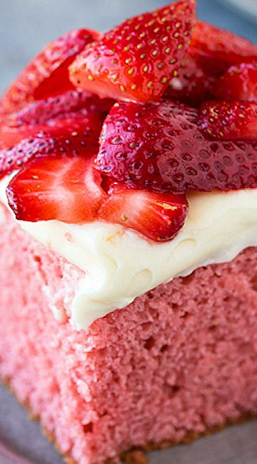 Strawberries and Cream Cake (from Scratch)