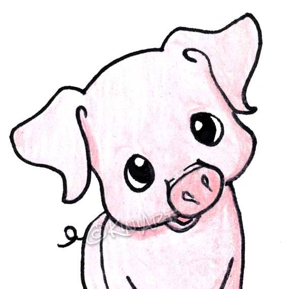 © KiniArt™ - ALL Rights Reserved. Yittle Piggy ACEO Matted Original Art PIG by KiniArt on Etsy, $45.00