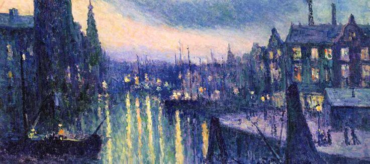 Maximilien Luce - Le port de Rotterdam, la nuit