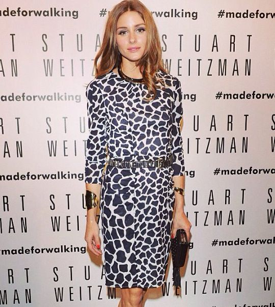Olivia Palermo long sleeved print dress