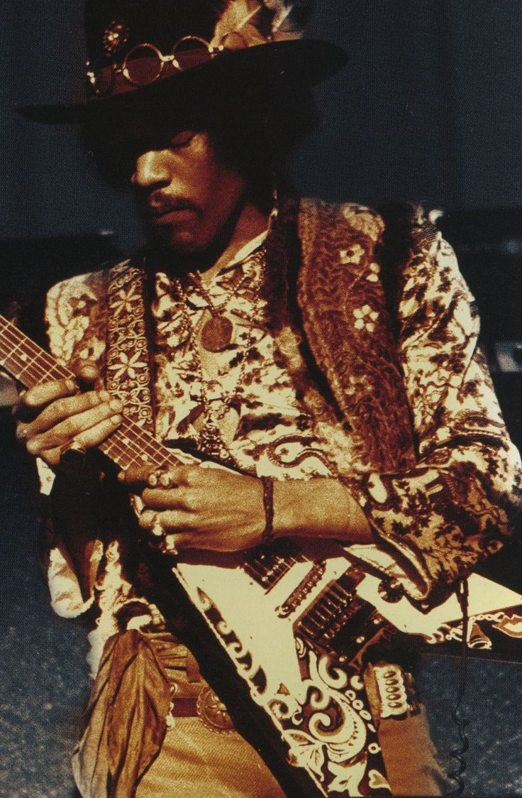 Jimi Hendrix with a Gibson Flying V guitar.  Rare, but far out.
