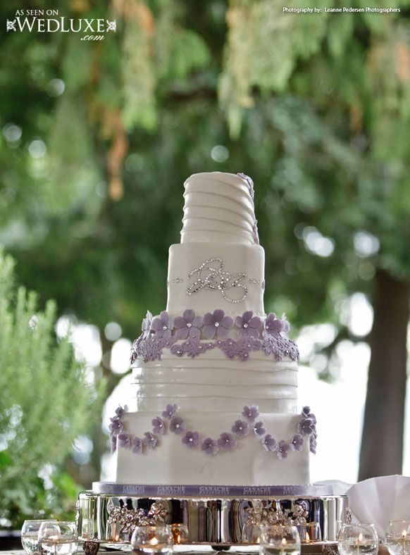 Luxury White and Lavender Wedding Cake
