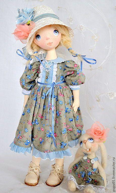 Купить Коллекционная кукла ручной работы Любочка - голубой, подарок на любой случай, авторская кукла