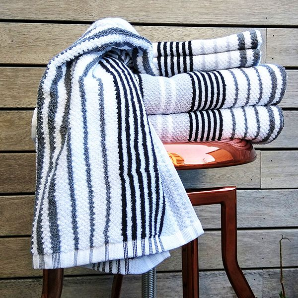 If stripes are your thing...meet Donovan. 100% Yarn Dyed Cotton Jacquard towel