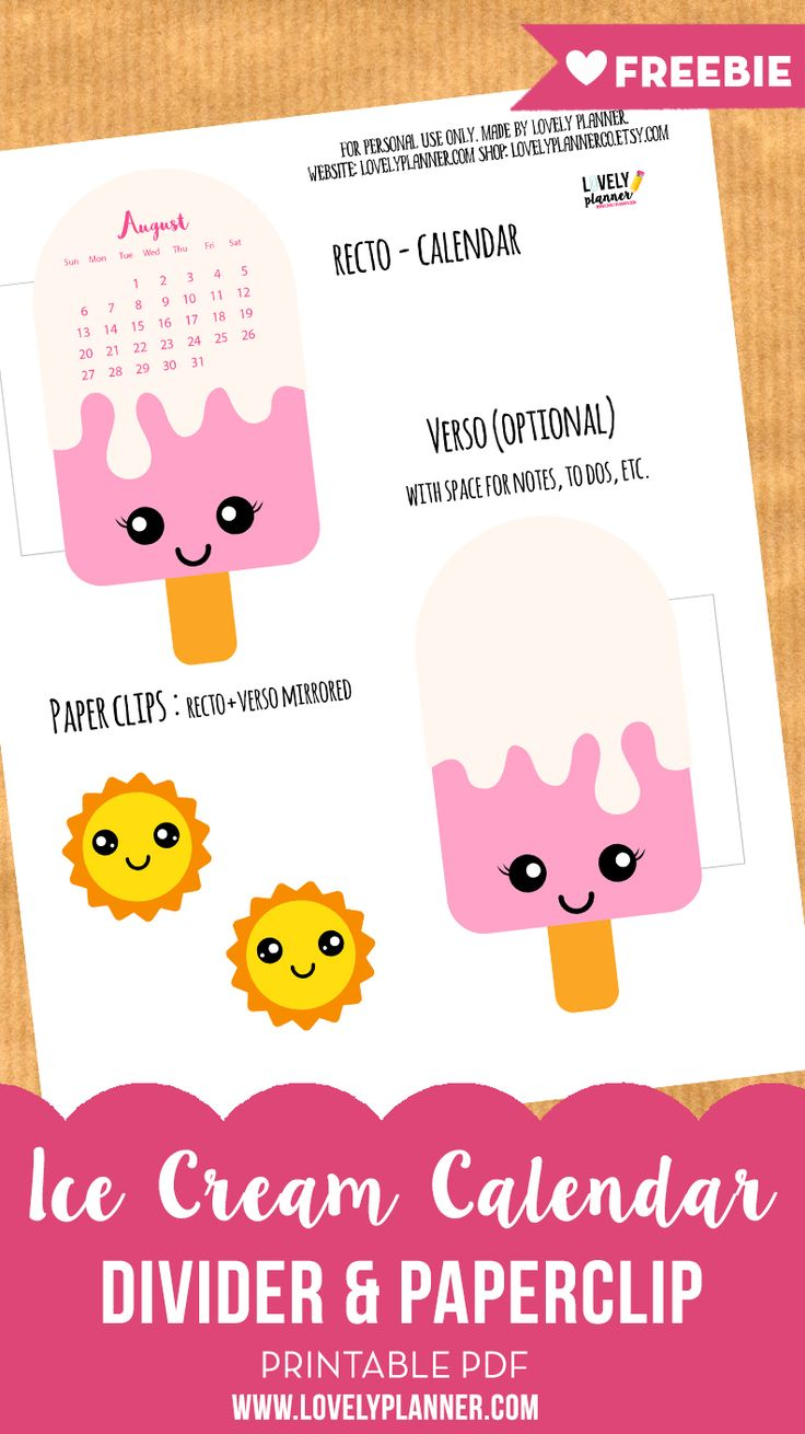 FREE PRINTABLE Ice Cream Calendar Divider + Paperclip for your planner! Get a new one every month to decorate your planner.