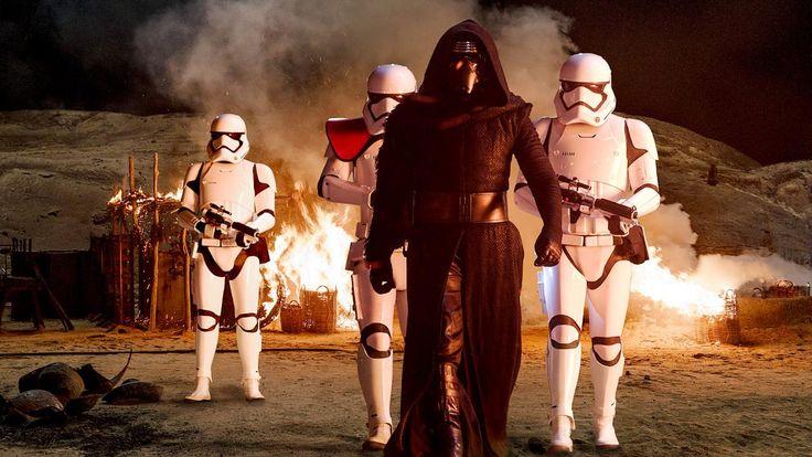 Kylo Ren (Adam Driver) with Stormtroopers in Star Wars: The Force Awakens