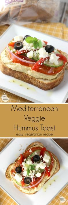 Mediterranean Veggie Hummus Toast   by Renee's Kitchen Adventures - easy healthy recipe for veggie toast with hummus. Perfect for snack, breakfast, or light lunch! #HarvestBlends
