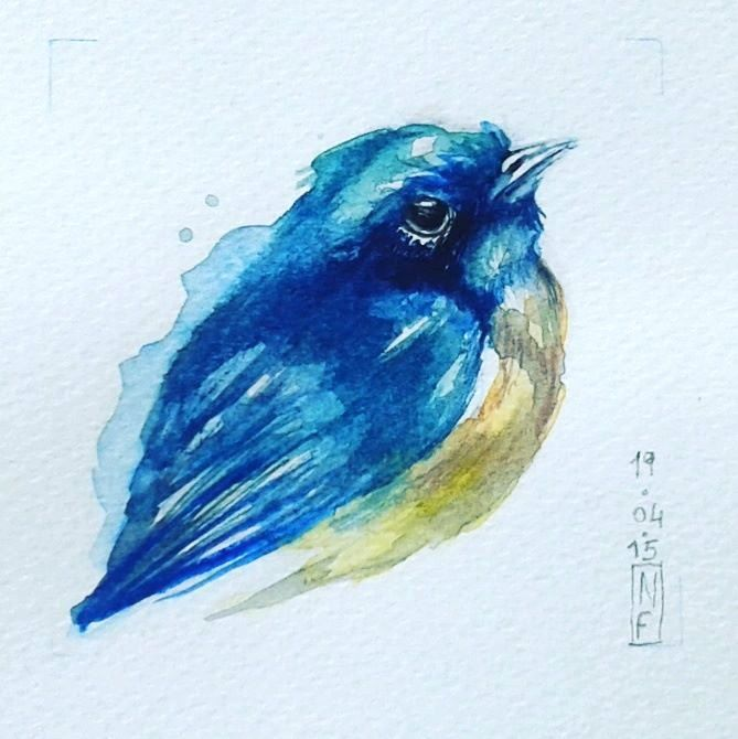 """Blue bird""  Watercolor on paper"