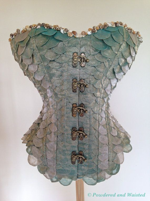 No How To - Mermaid Corset by PowderedandWaisted - Very Nice idea but if I were to make this, for CP I would change the fasteners to hidden ones