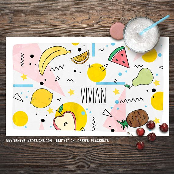 Fruit Pattern Personalized Placemat For Kids Children S Etsy Childrens Placemats Personalised Placemats Placemats Kids