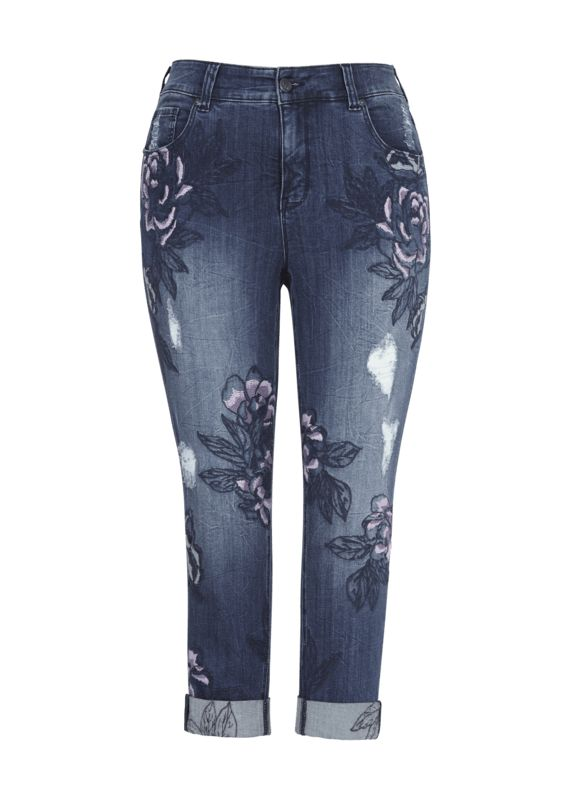 New Arrivals at Melissa McCarthy Seven7  Embroidered Flower Skinny Jean Dynamite $119