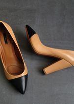Escarpins talons epais bout pointu noir en cuir