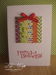 """cute b-day card using scraps 1/2"""" strips that are about 2-1/2"""" long."""