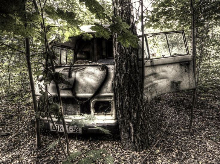 Van abandoned in the woods in the old soviet army base at krampnitz