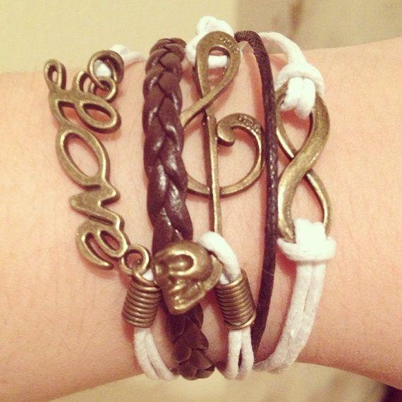 Music Note Infinity Bracelet Wax Cord Bracelet Multi