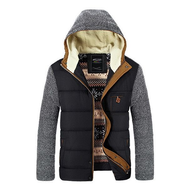 Patchwork Design Cotton-Padded Style Young Men Winter Down Warm Parkas Jackets
