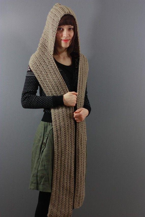 Bufanda con capucha ... ata alrededor del cuello o cuelgue sobre sus hombros y ya está listo para ir! La bufanda es de más de 94 pulgadas de largo por 7,5 cm de ancho . A mano o lavado a máquina.