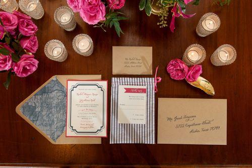 Seersucker and fuchsia wedding invitation suite | http://www.weddingreports.com/styled-wedding-shoot-preppy-prettiness/