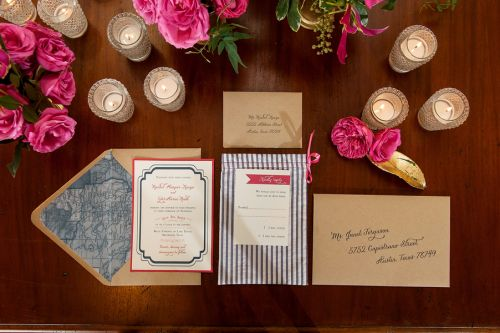Seersucker and fuchsia wedding invitation suite | http://www.weddingreports.com/styled-wedding-shoot-preppy-prettiness/