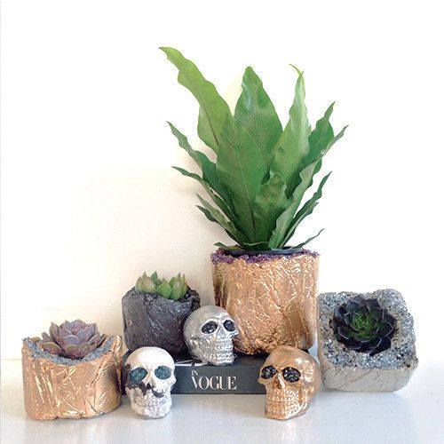 NUGGET POT - SQUARE FROSTED concrete vase and pot and skull with metallic and gems