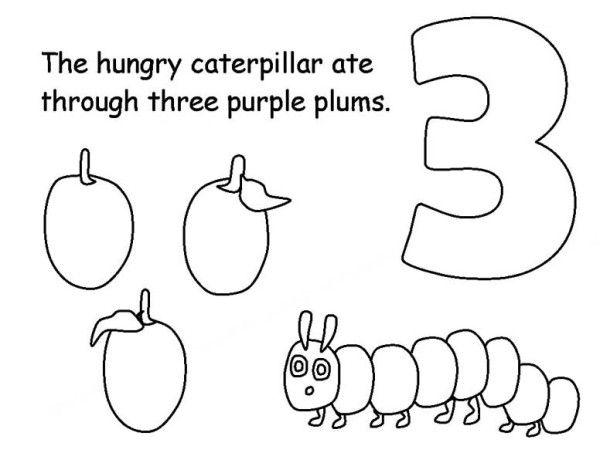 Caterpillars Caterpillar Eating Three Plums Coloring Page