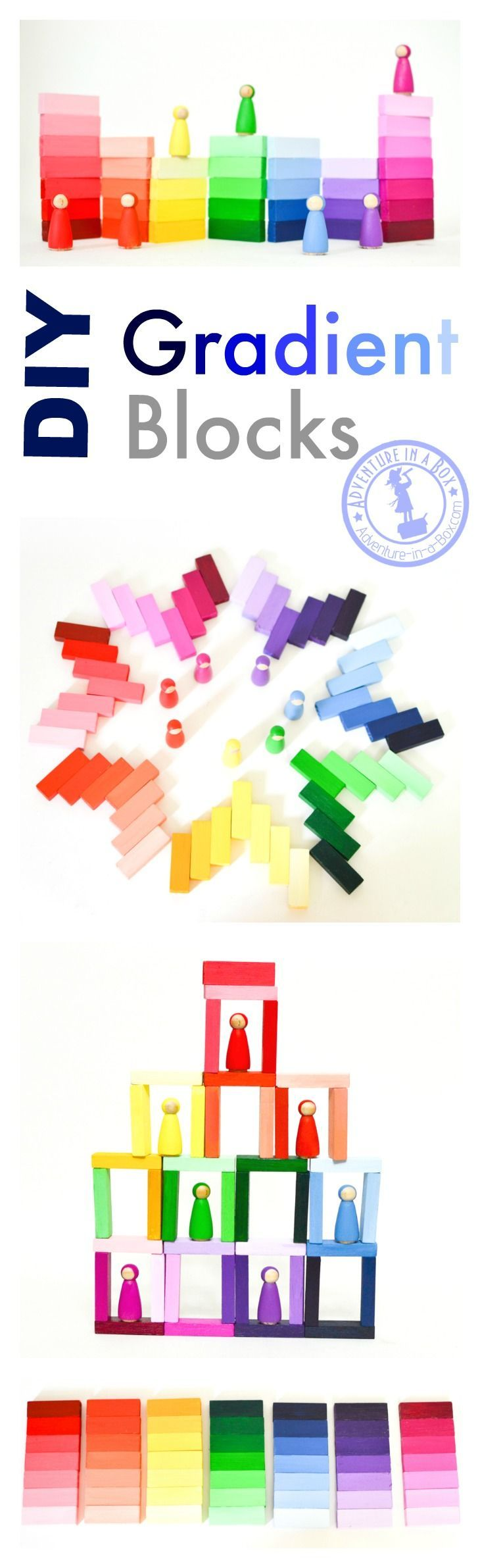 DIY Handmade Wooden Gradient Blocks: Inspired by Montessori colour tablets, these colourful blocks are very easy to make and fun for kids to play with!