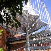 Perforated Steel Tread external fire escape.  Domestic spiral staircase