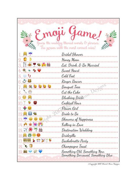 emoji pictionary emoticon game bridal shower printable