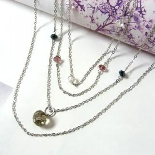 Fake Crystal Necklaces Silver - One Size