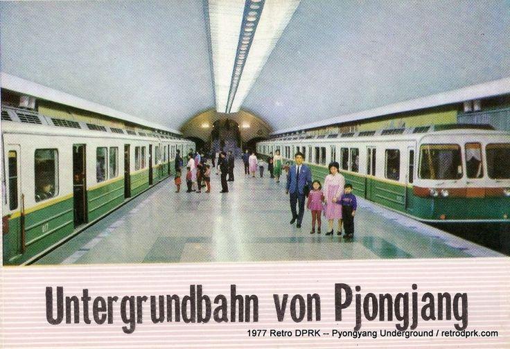 1977 North Korea DPRK Postcard Set -- Untergrundbahn von Pjongjang