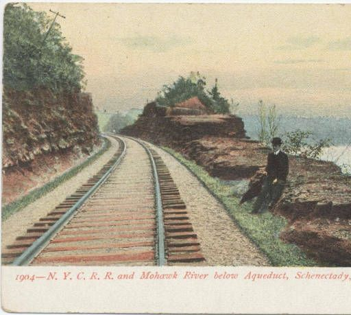 1904 - N.Y.C.R.R. and Mohawk River below Aqueduct, Schenectady, NY :: Clifton Park-Halfmoon Public Library