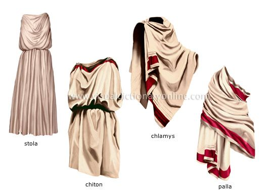 """These images are examples of the Greek clothing that was worn...  These pieces were made out of wool and linen with a high price range. The tunics would be made six-feet wide and eighteen inches longer then the height of the person. Up until the 5th century all the garments were made white, after that color begin to become popular!"" - unknown."
