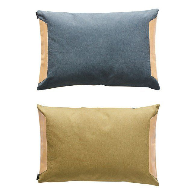 Steel Blue & Olive OYOY cushion / Leather pillow / rectangular designer cushion / double sided pillow / Brisbane store / Online retail & showroom in North Lakes