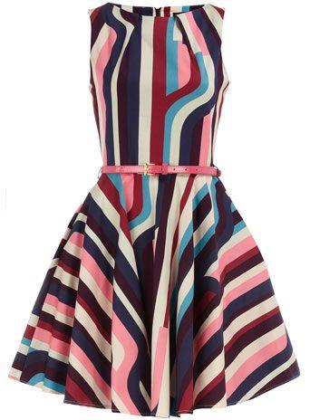 Very cute!: What To Wear, Flare Belts, Color, Outfit, Closet, Graduation Dresses, Multicolour Stripes, Stripes Dresses, Belts Dresses