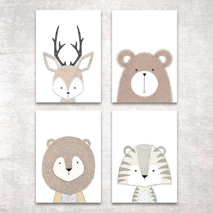 Bild Set Tiere Kunstdruck A4 Hirsch Bär Tiger Löwe Kinderzimmer Deko Geschenk | eBay
