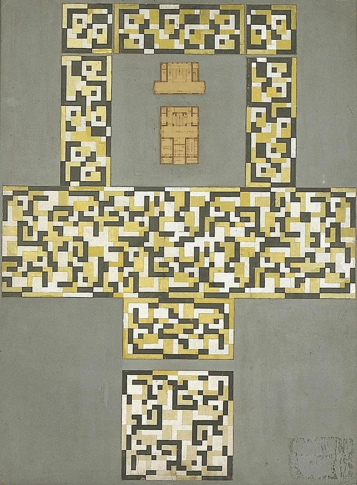 text-mode: Design for a tile floor, and entrance hall / Theo van Doesburg (c.1917)