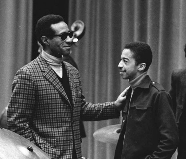 Max Roach and young Tony Williams. Two exceptional drummers.