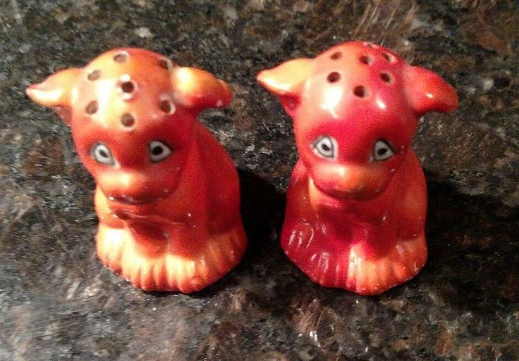 Vintage French Bulldog, Boston Terrier Orange Red Salt & Pepper Shakers Germany