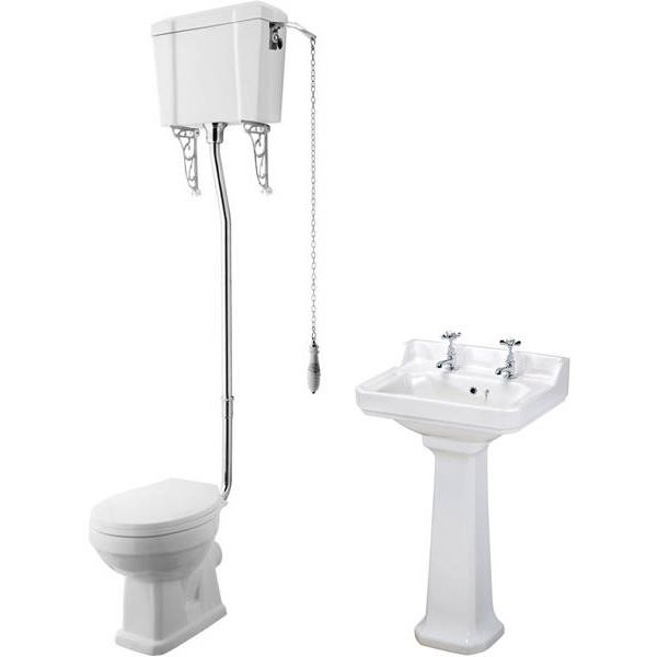 Traditional suite with low level toilet pan, high level cistern, chrome flush pipe kit, two tap hole 500mm basin and full pedestal. Now only £489 at Taps4Less.