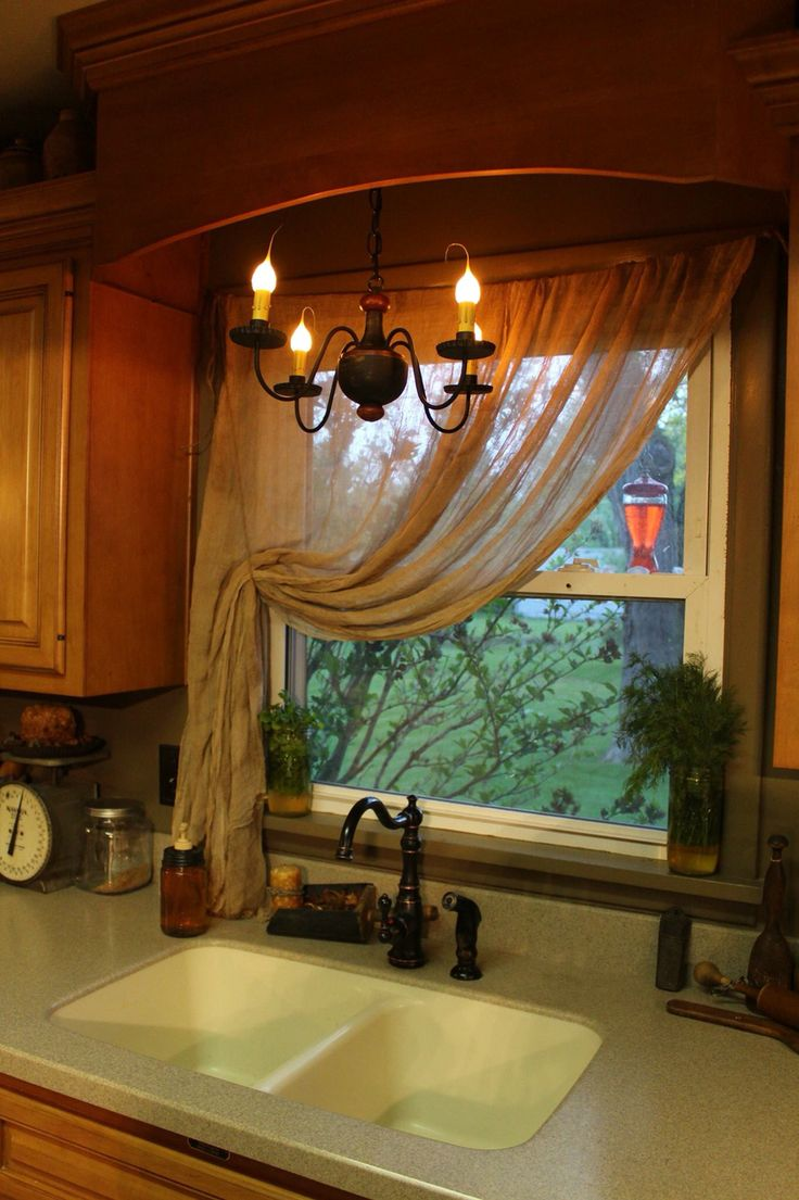 Primitive cheesecloth curtains