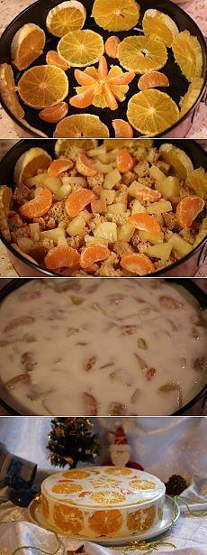 Начинаем собирать новогодние рецепты .Желейный торт фруктовый новый год