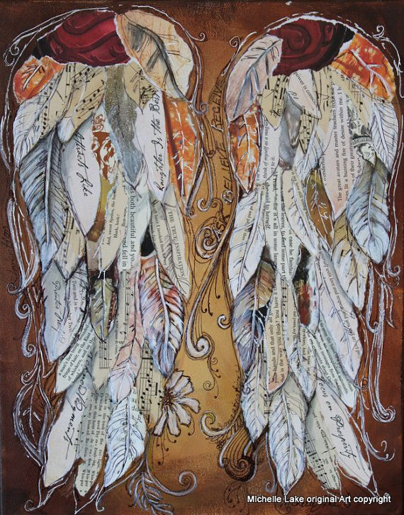 This is really pretty! I love it. Angel Wings Painting custom order your own wings mixed media painting via Etsy:
