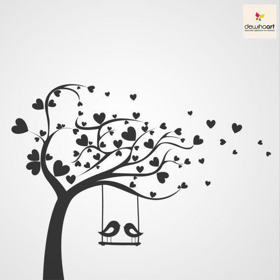 Boom met hartjes en vlinders - Dewiha Art - Muursjablonen en Muurstickers